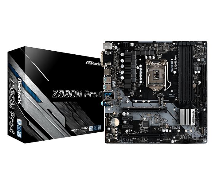ASRock Z390M PRO4, 4x DDR4 4300+, 1X HDMI/D-Sub/DVI-D, USB-C