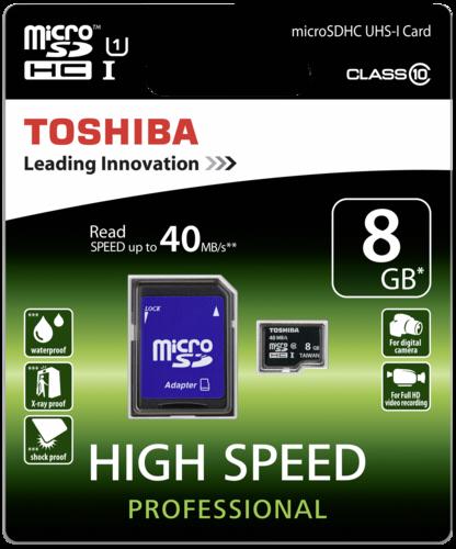 TOSHIBA microSDHC 8GB class 10 UHS1
