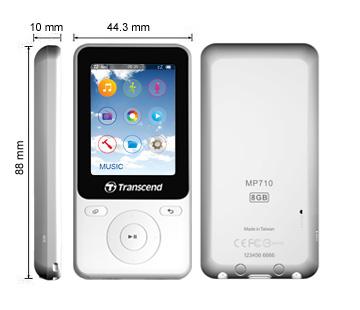 Transcend 8GB Flash MP3 přehrávač T-Sonic 710 bílý