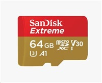 SANDISK EXTREME microSDXC 64 GB 160/60 MB/s A2 C10 V30 UHS-I U3 ActionCam