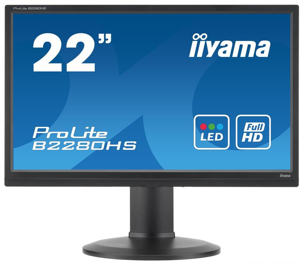 """22""""LCD iiyama B2280HS-B1DP - 2ms, 250cd/m2, FullHD, matný, VGA, DP, DVI,repro,pivot,výšk.nast.,černý"""