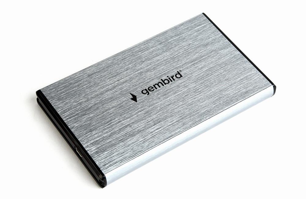 Gembird externí USB 3.0 case pro 2,5'' SATA, leštěný hliník, šedý