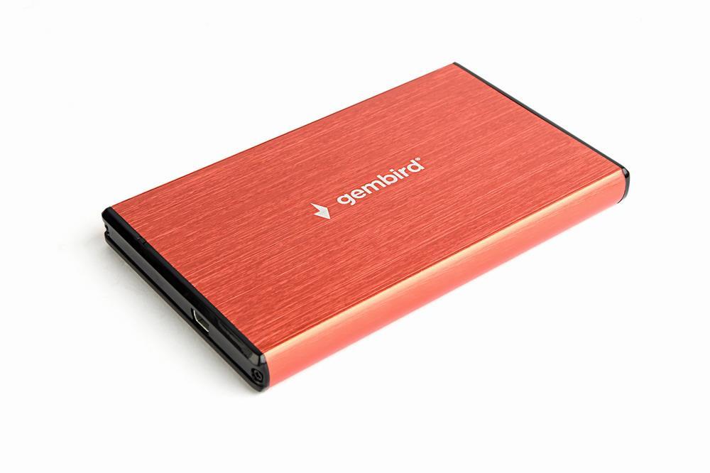 Gembird externí USB 3.0 case pro 2,5'' SATA, leštěný hliník, červený