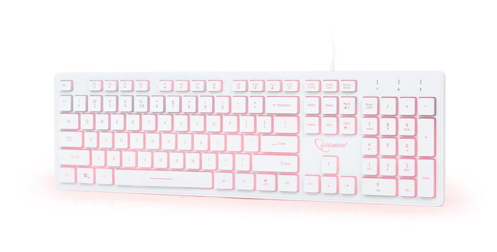 Gembird multimediální klávesnice KB-UML3-01-W,USB , US, podsvícená, bílá