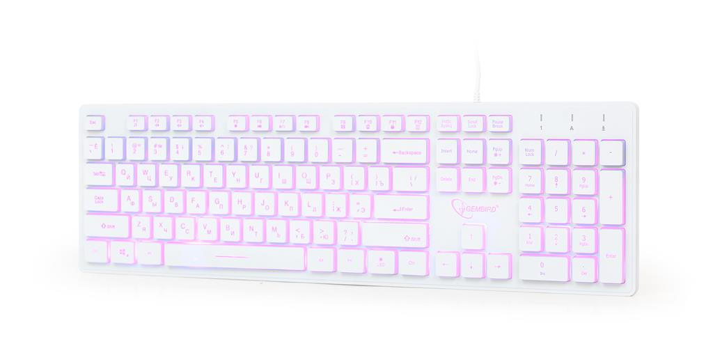 Gembird multimediální klávesnice KB-UML3-01-W-RU,USB ,RU, podsvícená, bílá