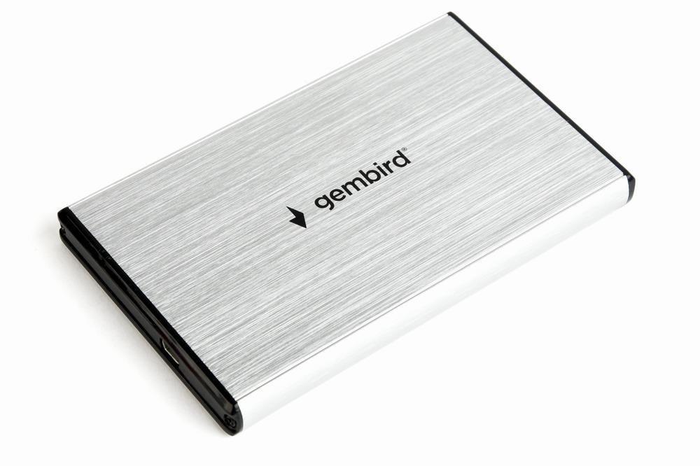 Gembird externí USB 3.0 case pro 2,5'' SATA, leštěný hliník, stříbrný