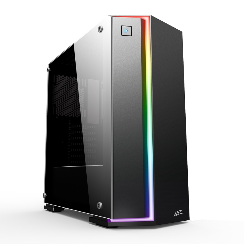 EVOLVEO Functio2, case ATX, bez ventilátorů, tvrzené sklo, RGB pásek