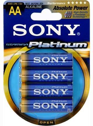 SONY Alkalické baterie AM3PTB4D, 4ks LR06/AA, Stamina Platinum