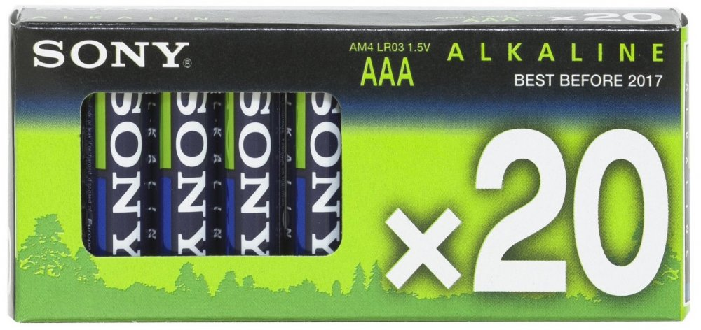 SONY Alkalické baterie AM4M20X, 20ks LR2/AAA, Stamina Plus