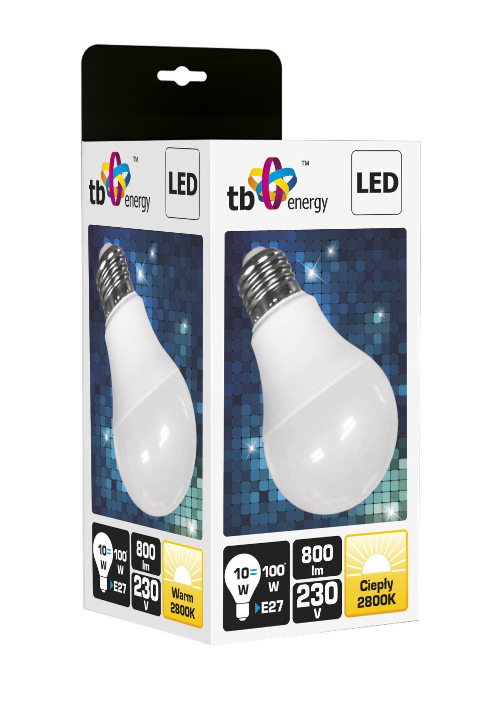 LED žárovka TB Energy E27,230V,10W,Teplá bílá