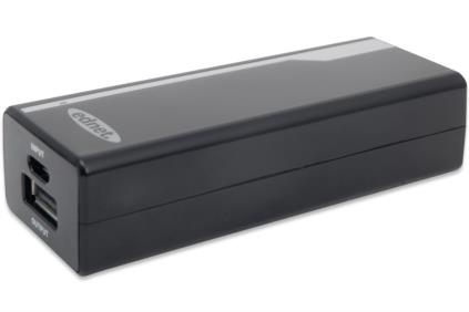 Ednet Power Banka pro smartphony, tablety, iPhone, iPad, MP3 přehrávač, malý černý kryt 2200mAh, výstup: 5V/800A