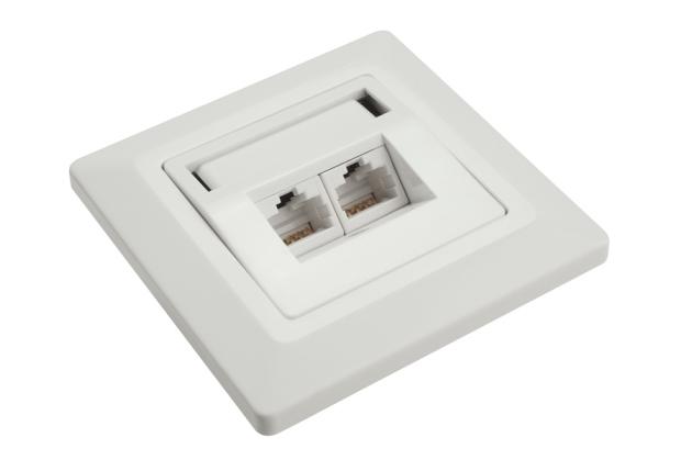Solarix Zásuvka CAT6 UTP 2 x RJ45 pod omítku bílá