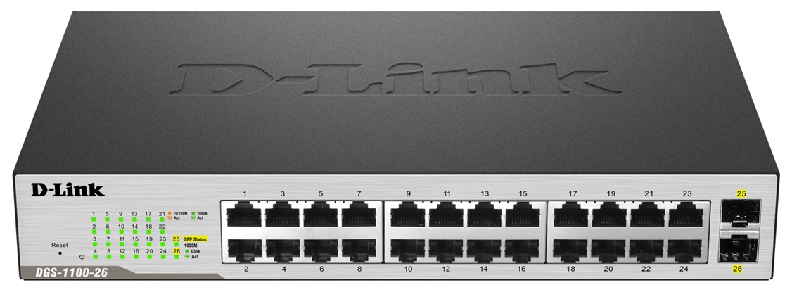 D-Link DGS-1100-26 26-Port Gigabit Smart Managed Switch including 2 SFP ports (fanless)