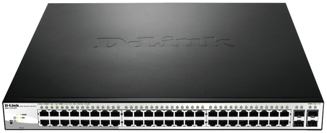 D-Link 52-port 10/100/1000 PoE Gigabit Smart Switch, 4 Combo 1000BaseT/SFP incl.