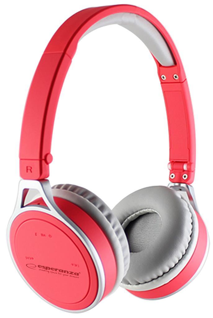 Esperanza YOGA Bluetooth 2.1 stereo sluchátka, červená
