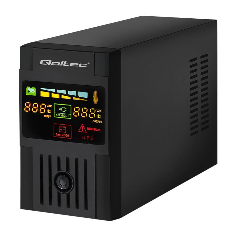 Qoltec Nepřerušitelný zdroj napájení MONOLITH 1200VA | 720W LCD USB