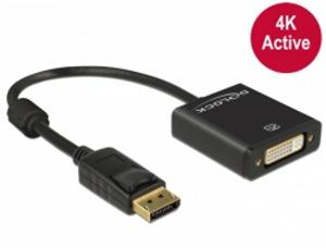 Delock adaptér Displayport 1.2 samec > DVI samice 4K aktivní černý
