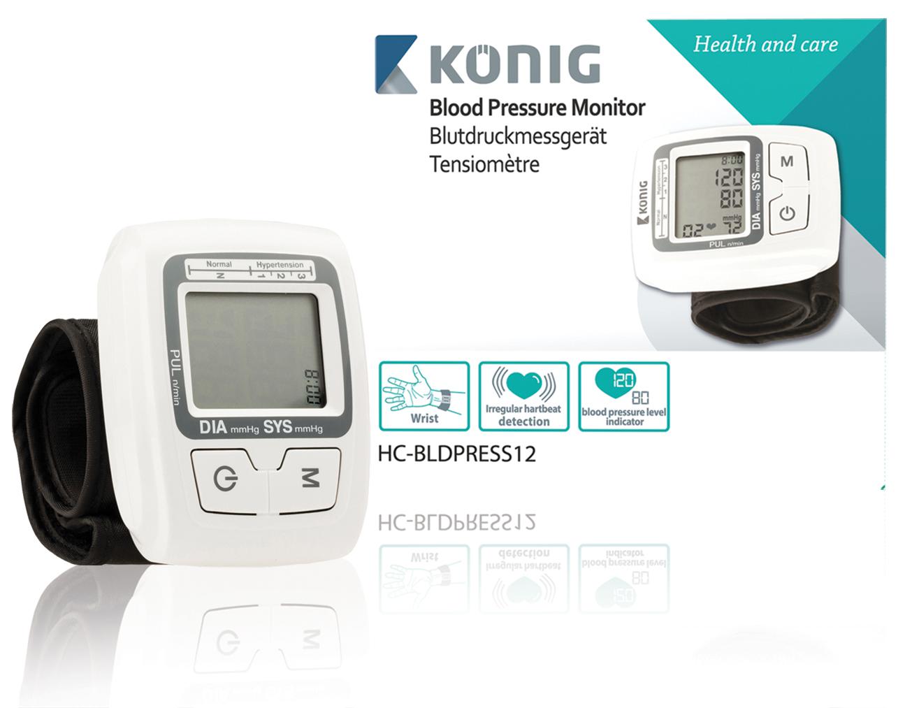 KÖNIG Automatický měřič krevního tlaku na zápěstí - HC-BLDPRESS12