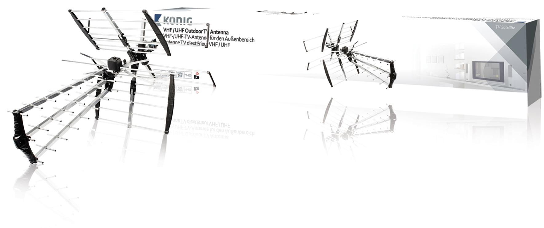 König ANT-UV11L-KN - VHF venkovní televizní anténa DVB-T, TV, VHF / UHF, FM rádio, 14 dB