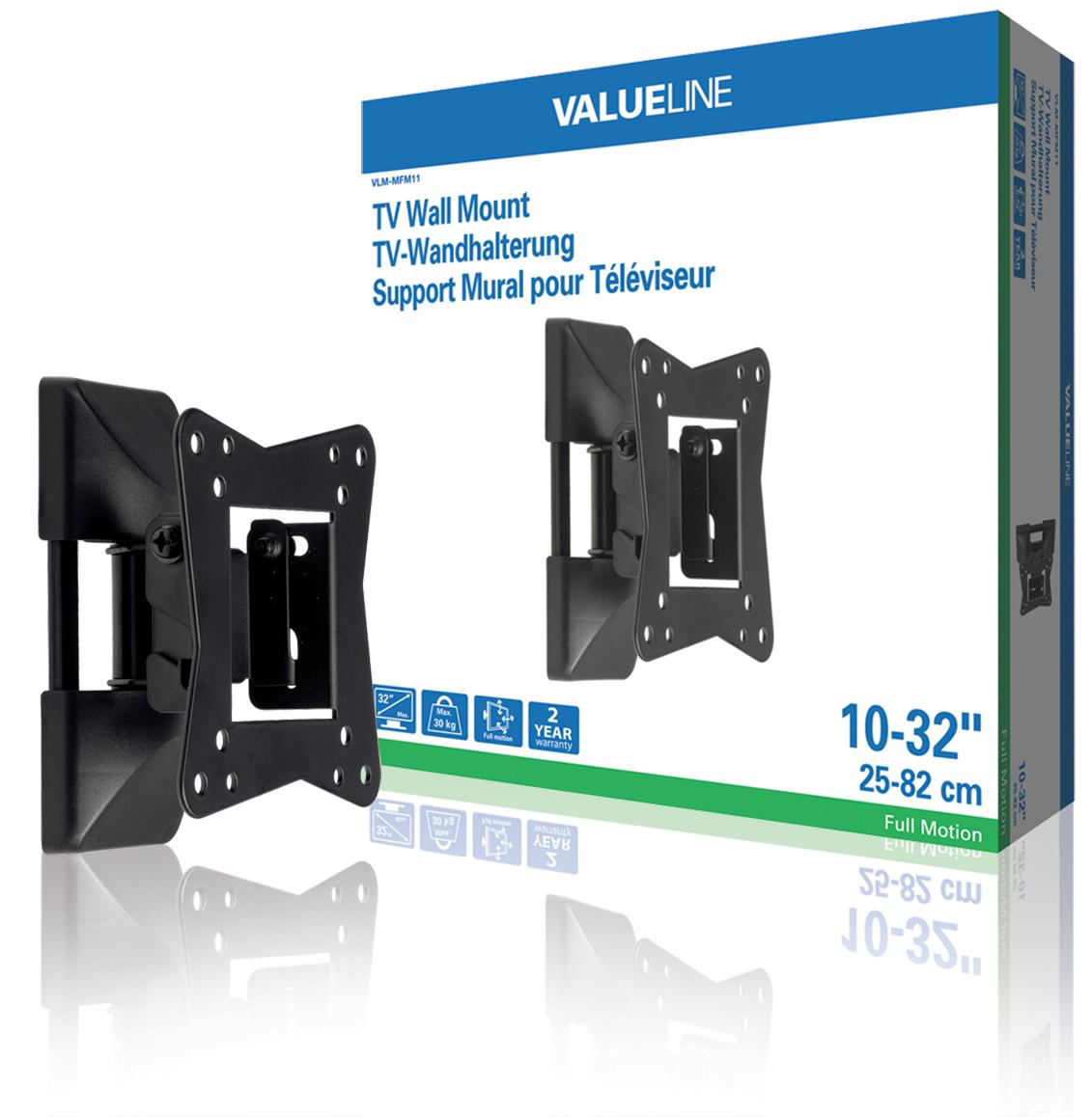 Valueline Nástěnný držák televizoru, full motion, 10 až 32'' / 25 až 82 cm, 30 k