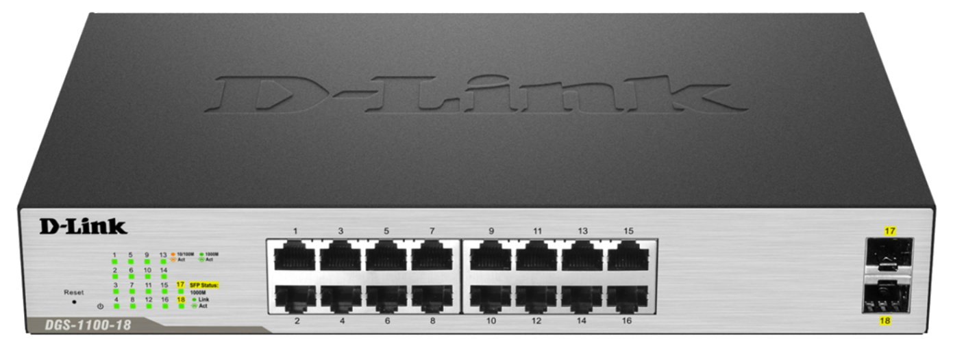 D-Link DGS-1100-18 18-Port Gigabit Smart Switch- 16-Port 10/100BaseTX Auto-Negotiating 10/100/1000Mbps Switch plus 2 S
