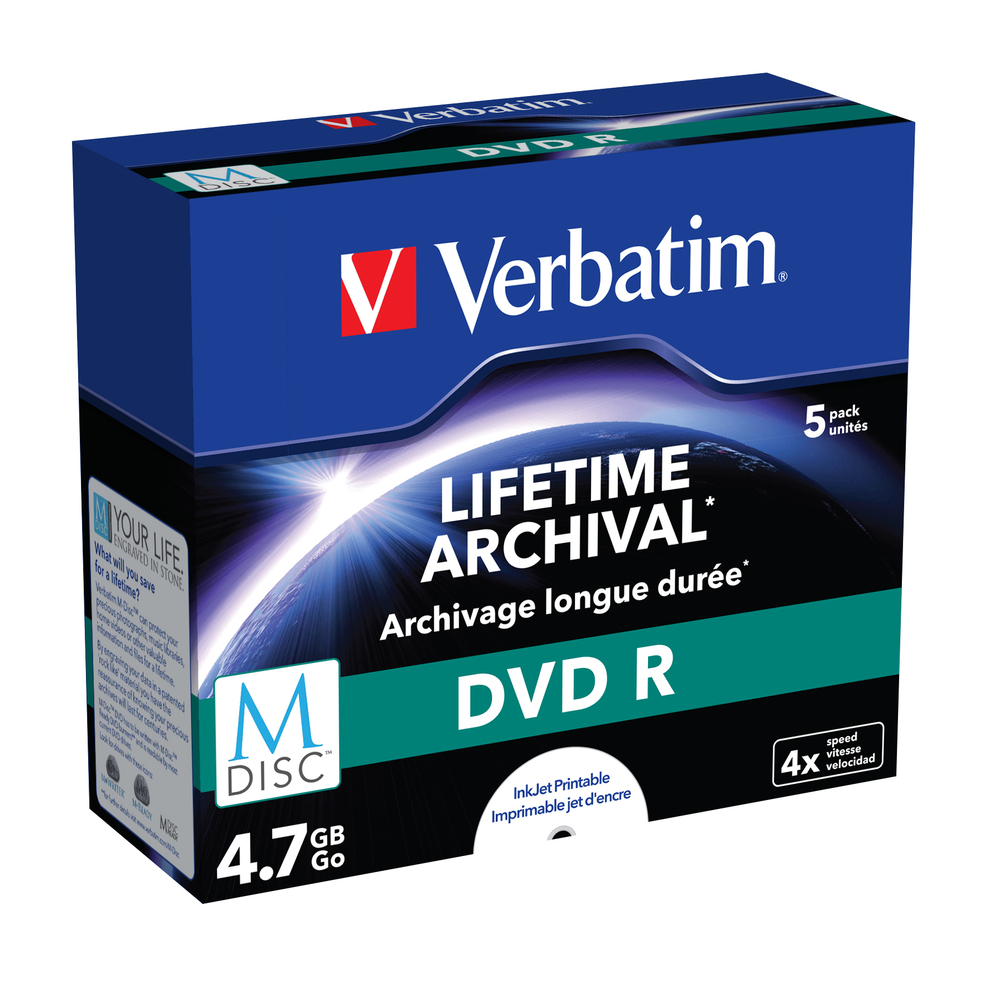 Verbatim M-DISC DVD R [ Jewel Case 5 | 4.7GB | 4x | INKJET PRINTABLE ]