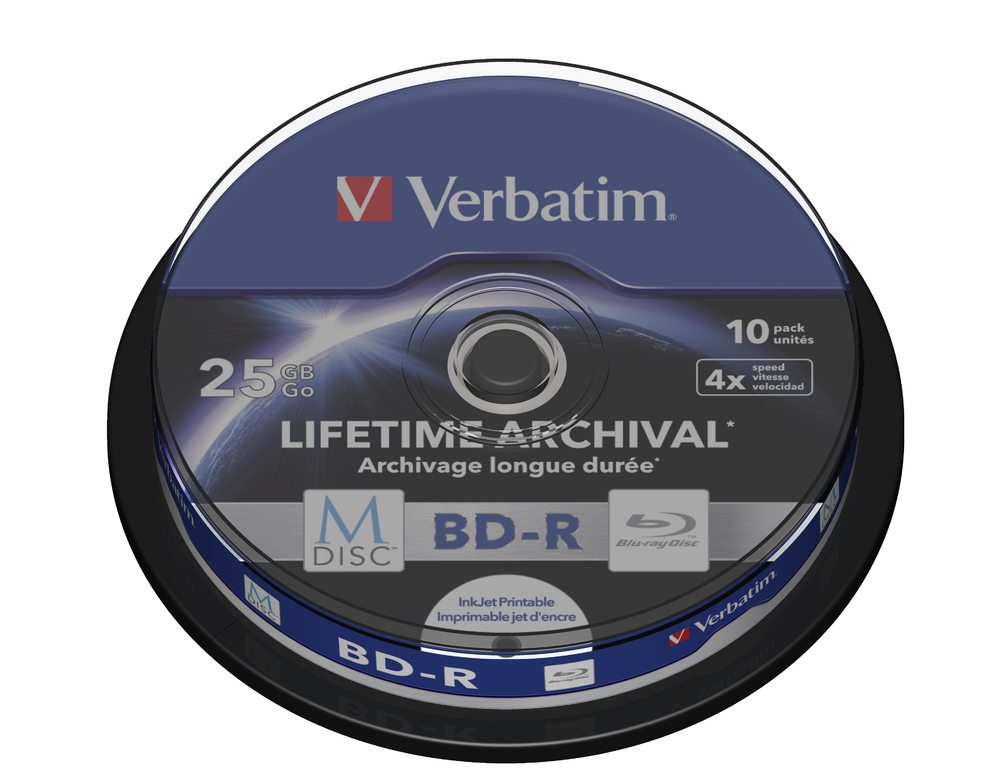 VERBATIM M-DISC BD-R 4X 25GB INKJET PRINTABLE 10PACK SPLINDLE