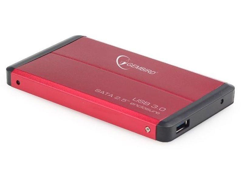 Gembird case pro 2.5'' SATA disk - USB 3.0, červený hliník, HDD/SSD