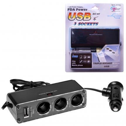 GT Adapter do auto zapalovače wf-0096, 3 zásuvky + USB