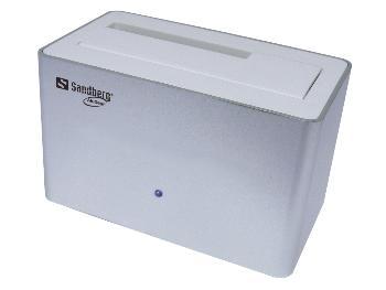 Sandberg HDD dokovací stanice 2.5'' & 3.5'', USB 3.0, SATA, hliníkový, bílá