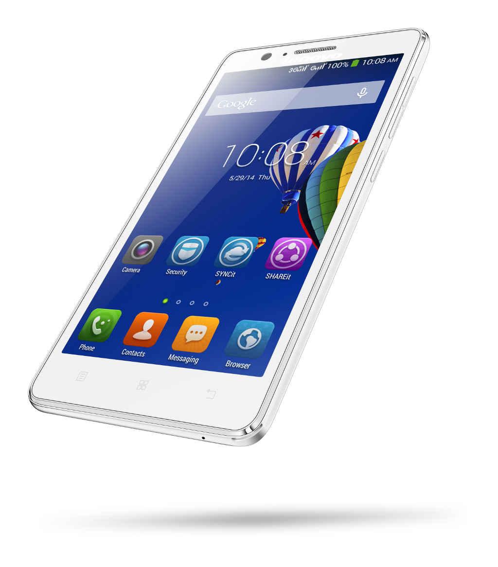 "Lenovo Smartphone A536 Dual SIM/5,0"" TN/854x480/Quad-Core/1,3GHz/1GB/8GB/5Mpx/3G/Android 4.4/White"