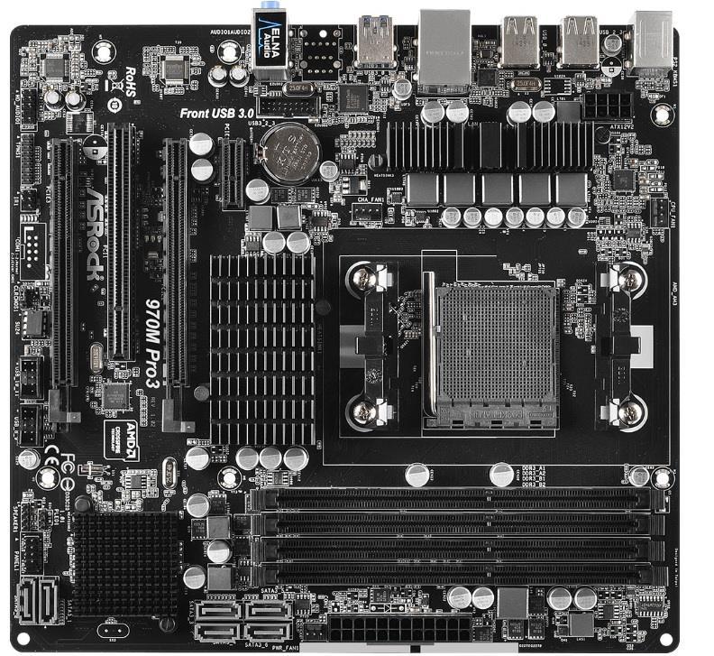 ASRock 970M PRO3, s.AM3+, AMD 970/AMD SB950, 4xDDR3, 6xSATA3 6.0Gb/s, RAID, 4xUSB 3.0, GLAN, uATX