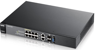 Zyxel GS2210-8HP, 10-port Managed Layer2+ Gigabit Ethernet switch, 8x Gigabit metal + 2x Gigabit dual personality (RJ45/