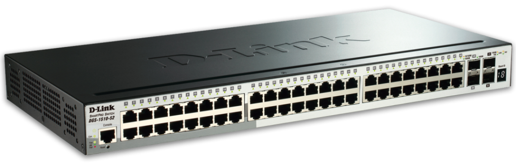 D-Link DGS-1510-52X 52-Port Gigabit Stackable Smart Managed Switch including 2 10G SFP+ and 2 SFP ports (smart fans)
