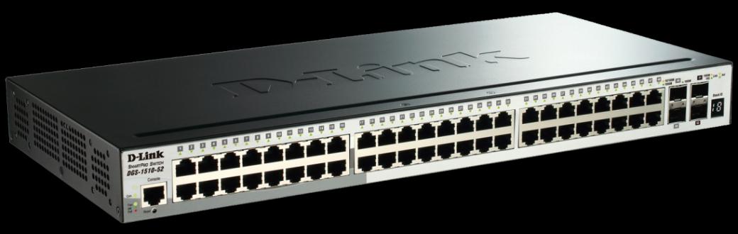 D-Link DGS-1510-52X 52-Port Gigabit Stackable Smart Managed Switch including 2 10G SFP+ and 2 SFP ports (smart fans)