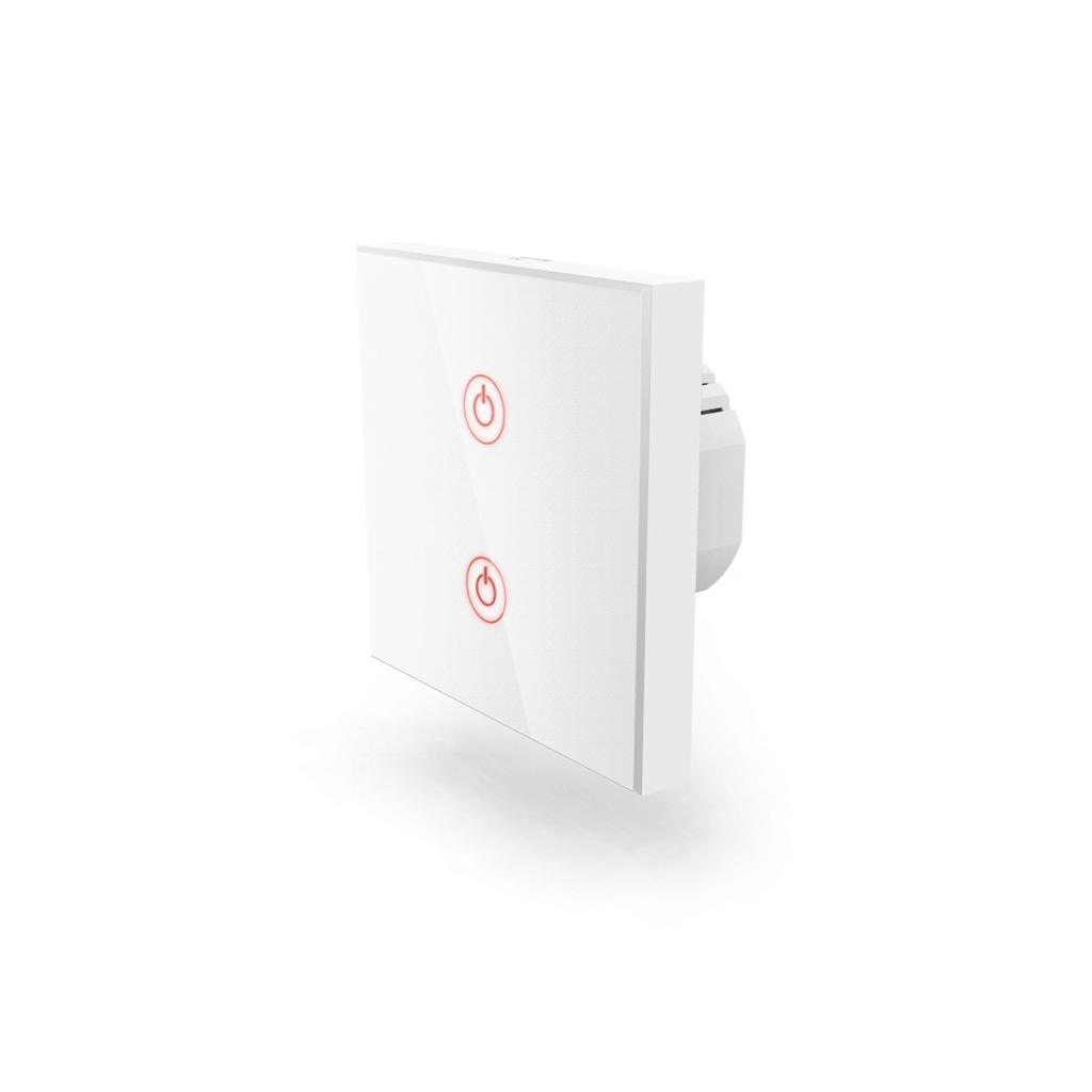Hama WiFi dotykový nástěnný vypínač, dvojitý, vestavný, bílý