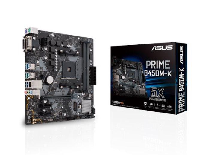 ASUS PRIME B450M-K Socket AM4, B450, 2xDDR4 1 x PCIe 3.0/2.0 x16+2 x PCIe 2.0 x16, mATX