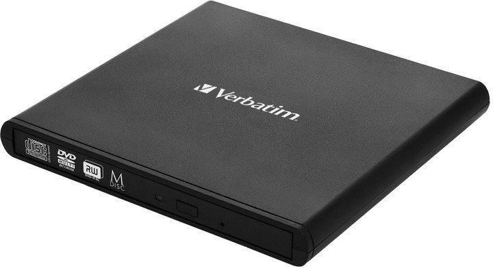 VERBATIM External Slimline CD/DVD Writer, 8× DVD, 24× CD, M-Disc, USB 2.0, SW Nero Burning Essentials, Mac/Win kompat.