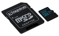 Kingston 32GB microSD HC Canvas Go Card, 90R Class 10 UHS-I + SD adaptér