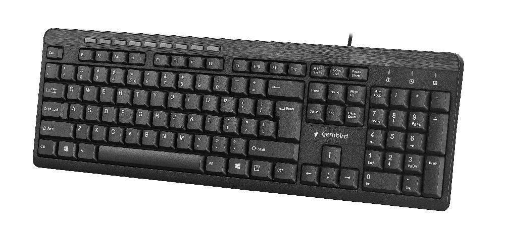 Gembird kompaktní multimediální klávesnice KB-UM-106, USB, US layout, černá