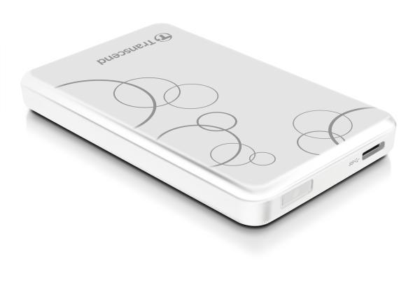 """TRANSCEND 1TB StoreJet 25A3, USB 3.0, 2.5"""" Stylový externí odolný hard disk, bílý se vzorem"""