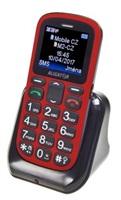 Aligator A321 Senior Dual SIM, červená-černá + nabíjecí stojánek