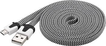 PremiumCord Kabel micro USB 2.0, A-B 2m, plochý textilní kabel, černo-bílý
