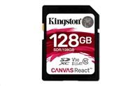 Kingston 128GB SecureDigital Canvas React (SDXC) Card, 100R 80W Class 10 UHS-I U3 V30 A1