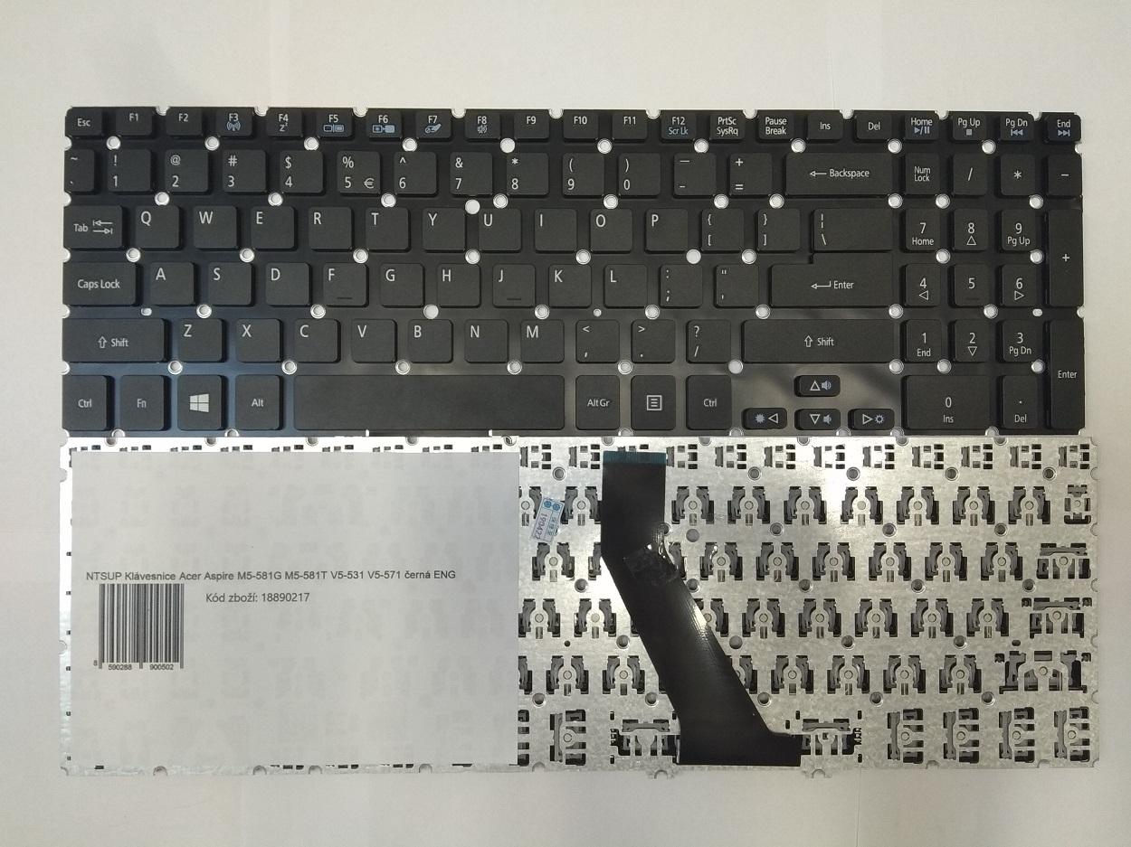 NTSUP Klávesnice Acer Aspire M5-581G M5-581T V5-531 V5-571 černá ENG