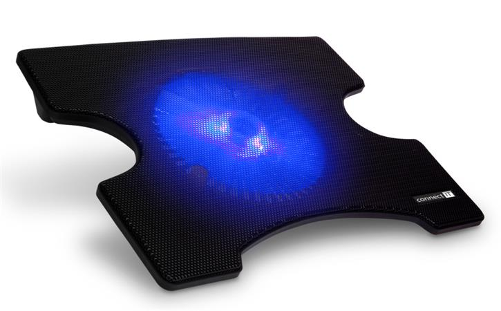 CONNECT IT Cool-ICE chladící podložka pod notebook,modré podsvícení ČERNÁ
