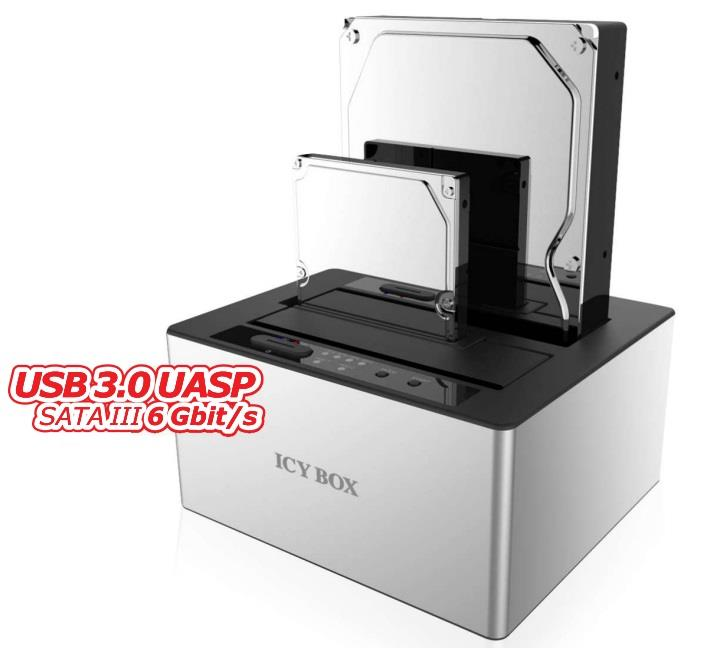 Dokovací stanice 2x2.5''/3.5'' HDD, SATA I/II/III, USB 3.0, JBOD, Bílá