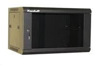"""XtendLan 19"""" jednodílný nástěnný rozvaděč 9U, šířka 600mm, hloubka 450mm, skleněné dveře-kouřové sklo,nosnost 60kg,černý"""