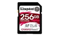 Kingston 256GB SecureDigital Canvas React (SDXC) Card, 100R 80W Class 10 UHS-I U3 V30 A1