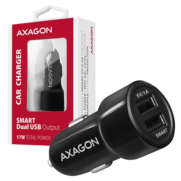 AXAGON PWC-5V3, SMART nabíječka do auta, 2x port 5V-2.4A + 1A, 17W